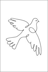 Wood print  Peace Dove