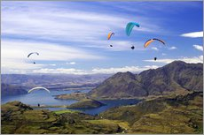 Gallery print  Paragliders over Lake Wanaka - David Wall
