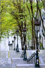 Gallery Print  Steps and lanterns lead to the Place du Sacre Coeur - Walter Bibikow