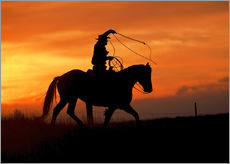 Gallery print  Cowboy with horse in the sunset - Joe Restuccia III