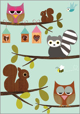 Wall sticker  Happy Tree with cute animals - owls, squirrel, racoon - GreenNest