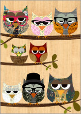 Gallery print  Nerd owls on branches - my friends and me - GreenNest