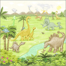 Wall Stickers  dinosaur landscape - Fluffy Feelings