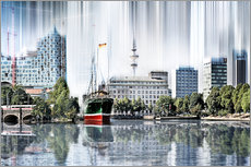 Gallery print  Hamburg Germany World Skyline - Städtecollagen