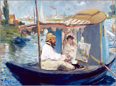 Gallery print  Monet painting on his studio boat - Edouard Manet