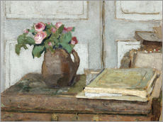 Gallery print  Still life with the artist painting set and a vase with moss roses - Edouard Vuillard