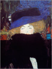 Wood print  Woman with hat and feather boa - Gustav Klimt