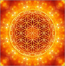 Gallery print  Flower of life - golden age - Dolphins DreamDesign