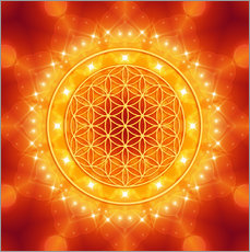 Gallery print  Flower of Life - Golden LightEnergy - Dolphins DreamDesign