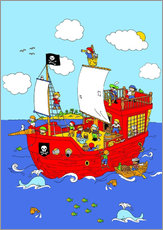 Wall sticker pirate ship scene