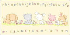 Wall sticker baby pet animals with alphabet and numbers