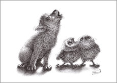 Gallery print  Howling wolf meets howling owls - Stefan Kahlhammer