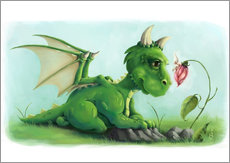 Wall sticker  Dragon with a little fairy - Alexandra Kreipl