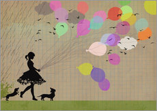 Wall Stickers  girl with balloons - Elisandra Sevenstar