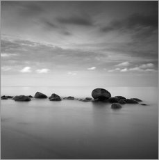 Wall sticker  Stones on the sea beach - black and white - Frank Herrmann