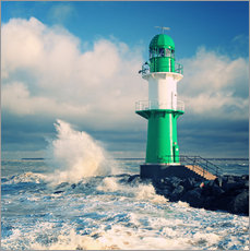 Wall sticker  Green lighthouse in the surf II - Thomas Deter