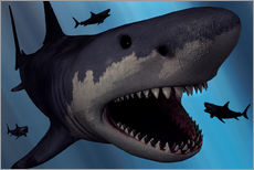 Wall sticker  A Megalodon shark from the Cenozoic Era - Mark Stevenson