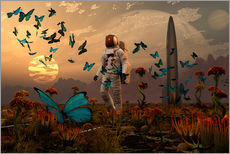 Wall Stickers  A astronaut is greeted by a swarm of butterflies on an alien world. - Mark Stevenson