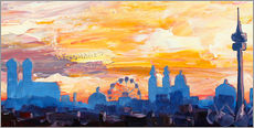 Gallery print  Munich Skyline at Dusk with Alps - M. Bleichner