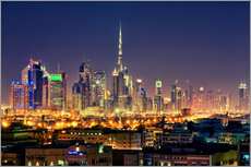 Gallery print  Dubai skyline at night - Stefan Becker