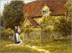 Gallery print  Mother and child on lodge - Helen Allingham