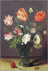 Wall sticker  Tulips with other Flowers in a Glass on a Table - Jan Brueghel d.Ä.