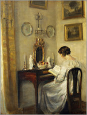 Premium poster Woman reading a spinet