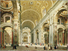 Gallery Print  Interior of Saint Peter's Rome, looking west towards the Tomb of St. Peter - Giovanni Paolo Pannini