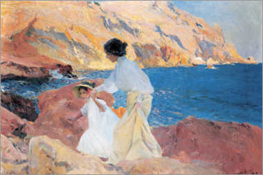 Aluminium print  Clotilde and Elena on the Rocks, Javea - Joaquín Sorolla y Bastida