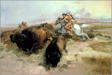 Wall sticker  Buffalo Hunt, 1897 - Charles Marion Russell