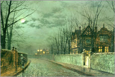 Wall sticker  Old English House, Moonlight after Rain - John Atkinson Grimshaw