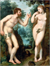 Premium poster Adam and Eve under the Tree of Knowledge