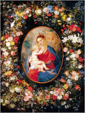 Premium poster Madonna in the floral wreath