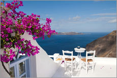 Wall sticker  Hotel terrace with pink flowers and stunning views - Bill Bachmann