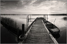 Wall sticker  Wooden pier on lake, black and white - Frank Herrmann