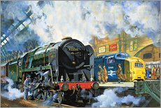 Wall sticker  Evening Star, the last steam locomotive and the new diesel-electric Deltic - Harry Green