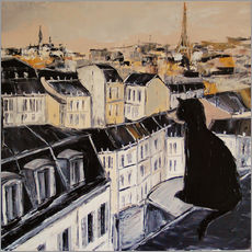 Gallery print  Black cat on a roof in Paris - JIEL