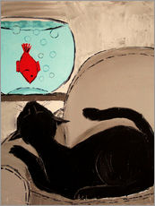 Wall sticker  Black Cat with Goldfish - JIEL