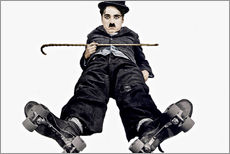Gallery print  Charlie Chaplin with roller skates