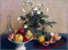 Gallery print  Flowers, dish with fruit and carafe - Henri Fantin-Latour