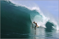 Gallery print  Surfing in a huge green wave, tropical island paradise - Paul Kennedy