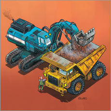 Gallery print  Excavator and trucks - Helmut Kollars