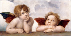 Wood print  Two Angels, detail - Raffael