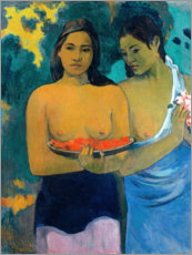 Wood print  Two women of Tahiti - Paul Gauguin