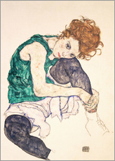 Wall sticker  Seated woman with bent knee - Egon Schiele