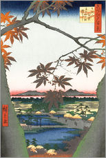 Gallery print  Maple leaves, the Tekona shrine and the bridge - Utagawa Hiroshige