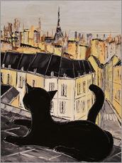 Wall sticker  Black cat on the roofs of Paris - JIEL