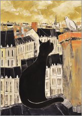Wall sticker Cat and dove in Paris
