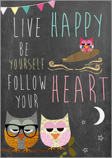 Wall sticker  Live Happy, be yourself, follow your heart - GreenNest