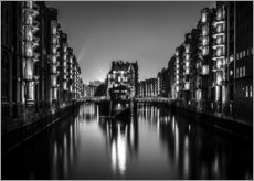 Wall sticker  Hamburg by night (monochrome) - Sascha Kilmer